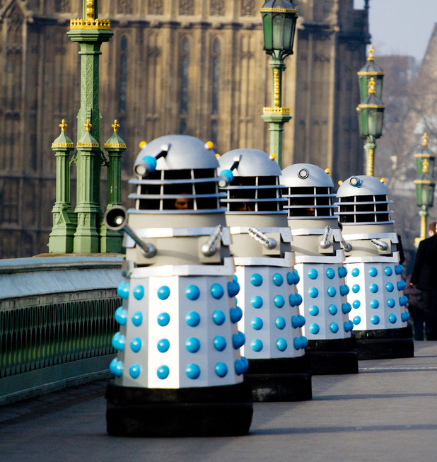 Daleks on set for 'An Adventure in Space and Time'