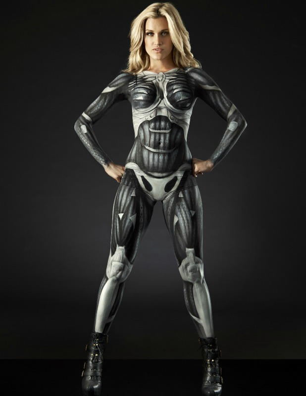 Ashley Roberts suits up in full bodypaint to become lead character Prophet for the launch of new video game Crysis 3