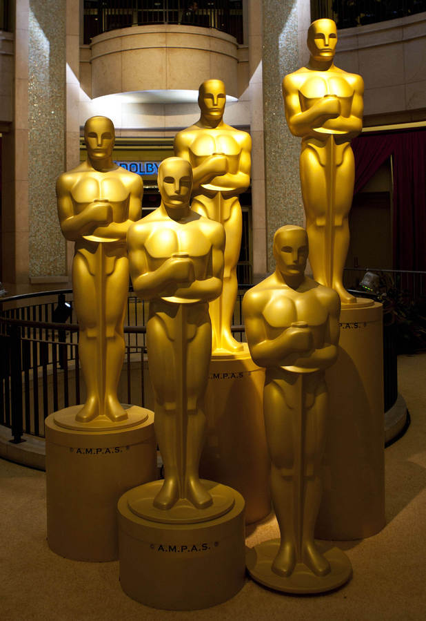 Oscar statues inside the Dolby Theatre.