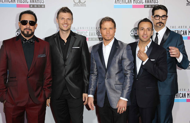 AJ McLean, Nick Carter, Brian Littrell, Howie Dorough and Kevin Richardson of Backstreet Boys The 40th Anniversary American Music Awards 2012, held at Nokia Theatre L.A. Live - Arrivals Los Angeles California, USA - 18.11.12 Mandatory Credit: FayesVision/WENN.com