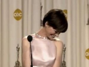 Anne Hathaway is tearful backstage at the Oscars