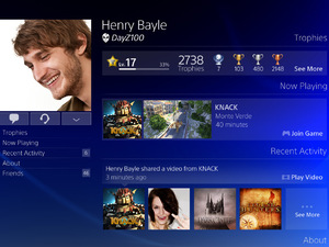 PlayStation 4 menu screens in pictures: The Profile page (from tablet)