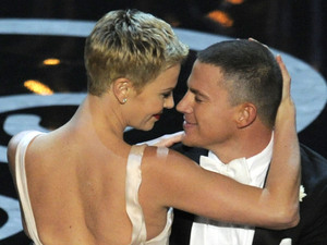 Charlize Theron and Channing Tatum dance at the 2013 Oscars