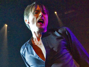 Brett Anderson of Suede performing live at the O2 Arena in London