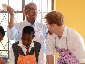 Prince Harry and Prince Seeiso during a visit to the Kananelo Centre for the Deaf 27 Feb 2013