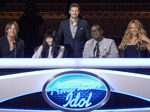 American Idol season 12: Host Ryan Seacrest with judges Keith Urban, Nicki Minaj, Randy Jackson and Mariah Carey