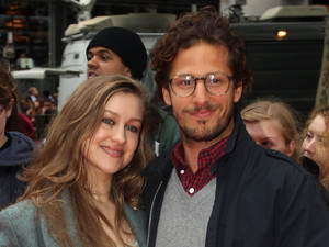 Joanna Newsom and Andy Samberg at the premiere of the new Batman film, The Dark Knight Rises at the Odeon Leicester Square, London