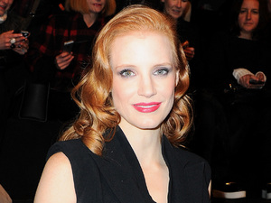Jessica Chastain at the Viktor & Rolf show in Paris.