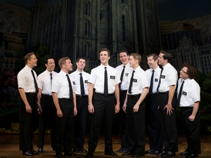 Gavin Creel (Elder Price, centre), Jared Gertner (Elder Cunningham, right) and the cast of The Book of Mormon