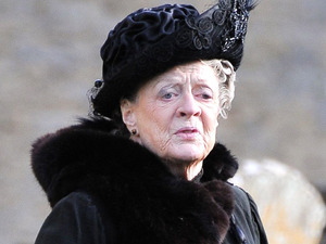 Dame Maggie Smith filming on set for 'Downton Abbey'