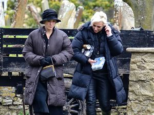Joanne Froggatt filming on set for 'Downton Abbey'