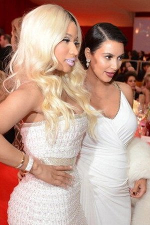 Kim Kardashian and Nicki Minaj arrive at Elton John's after party