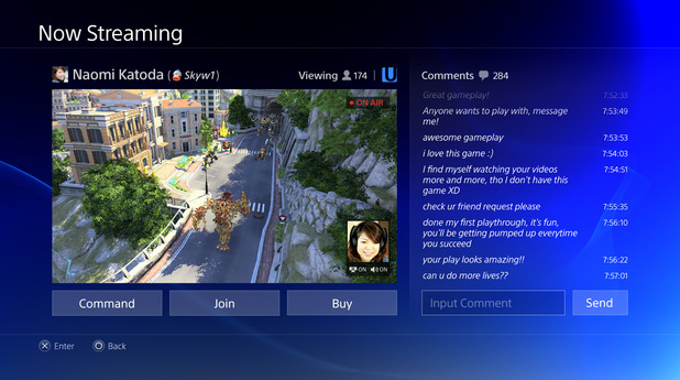 PlayStation 4 menu screens in pictures: The Live Streaming screen