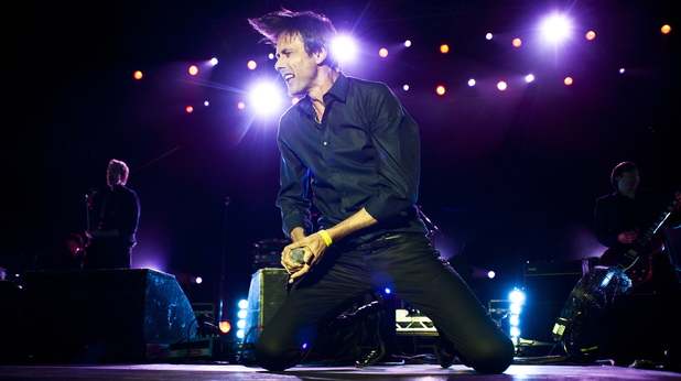 Brett Anderson of Suede performing live at the Hop Farm Music Festival