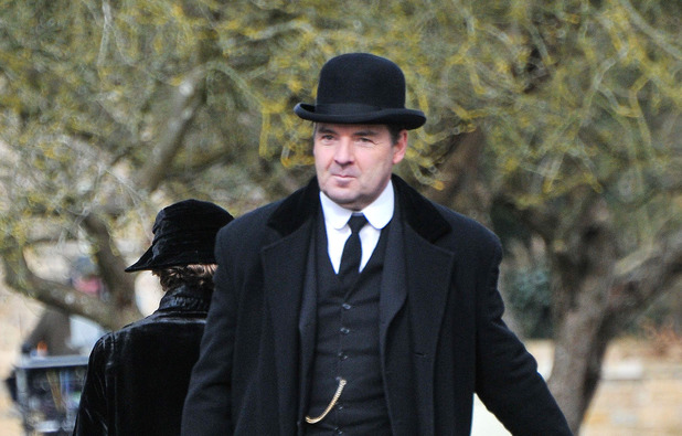 Brendan Coyle filming on set for 'Downton Abbey'