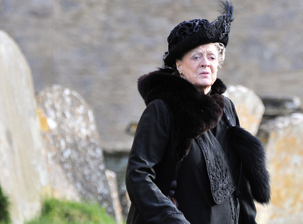 Dame Maggie Smith filming on set for &#39;Downton Abbey&#39;