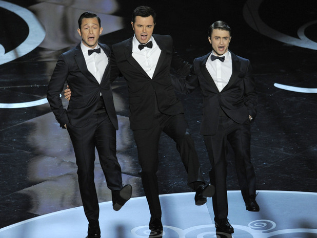 Joseph Gordon-Levitt, Seth MacFarlane and Daniel Radcliffe at the 2013 Oscars