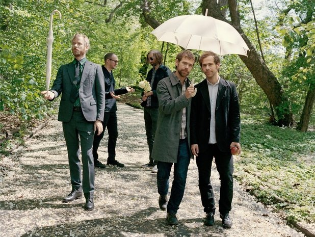 Matt Berninger, Aaron Dessner, Bryce Dessner, Bryan Devendorf and Scott Devendorf of The National pose for documentary Mistaken for Strangers.