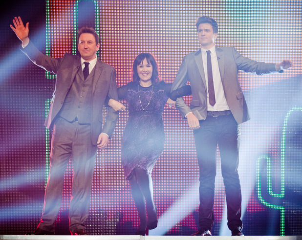 Judges Arlene Phillips, Greg James and Lee Mack