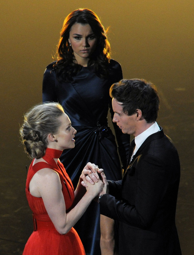 Samantha Barks with Amanda Seyfried and Eddie Redmayne
