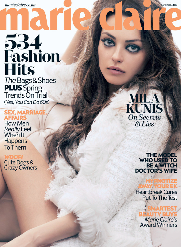 Mila Kunis on the front cover of Marie Curie magazine April edition