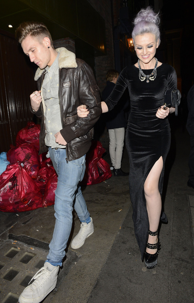 Little Mix's Perrie Edwards leaves Mahiki nightclub with a male friend
