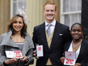 Jessica Ennis, Greg Rutherford, Nicola Adams at Buckingham Palace for investiture.