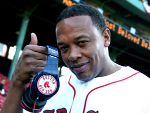 Dr Dre sports Boston Red Sox-branded Beats headphones