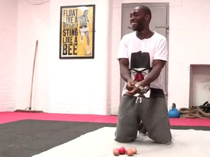 Tinie Tempah Comic Relief challenge, press-ups over eggs