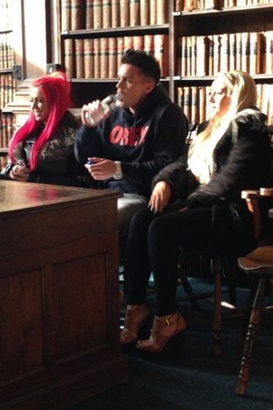 Geordie Shore stars Gaz Beadle, Holly Hagan and Sophie Kasaei at Oxford Union.