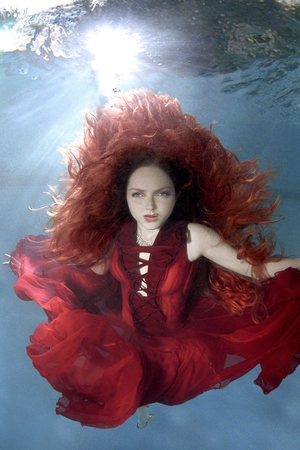 Lily Cole in an underwater photoshoot for Candice and social enterprise fresh2o