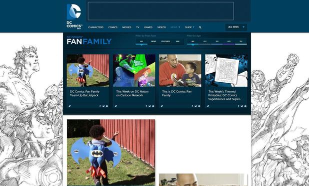 Screenshot of DC Comics Fan Family blog
