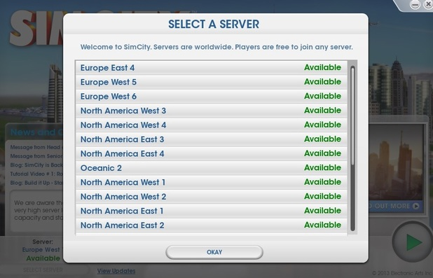 SimCity server at 9.00am on Saturday