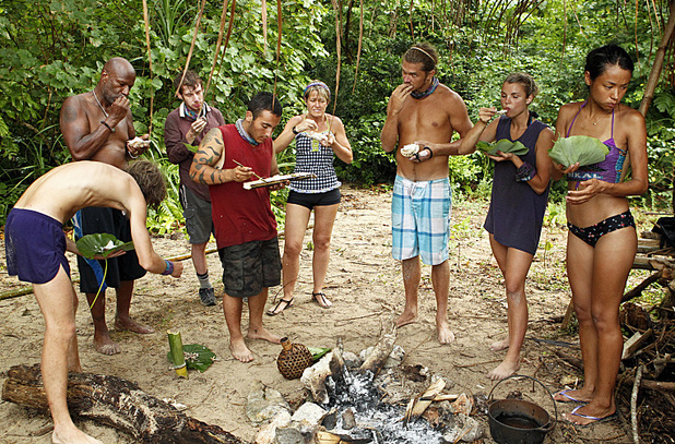 "Survivor: Caramoan - Fans vs Favourites (""Kill or be Killed"") The Bikal Tribe enjoys their reward"