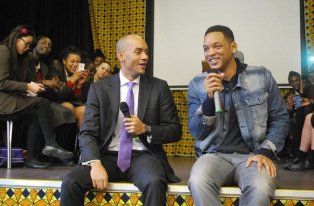 Will Smith visits St Martin's School in Brixton with Labour MP Chuka Umunna.