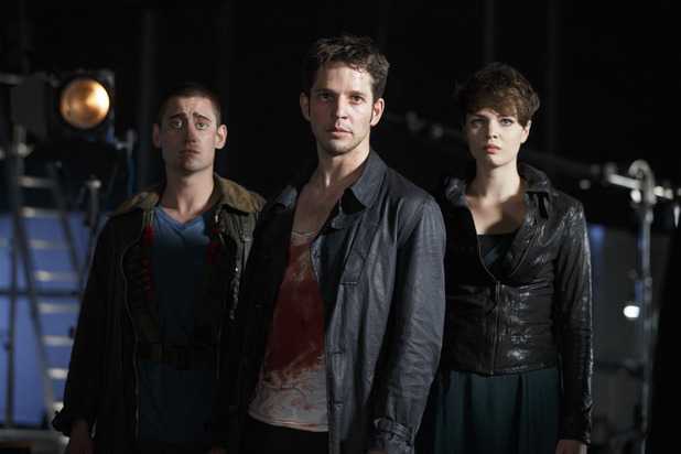 Being Human S05E06: 'The Last Broadcast' - Tom (Michael Socha), Hal (Damien Molony) and Alex (Kate Bracken)