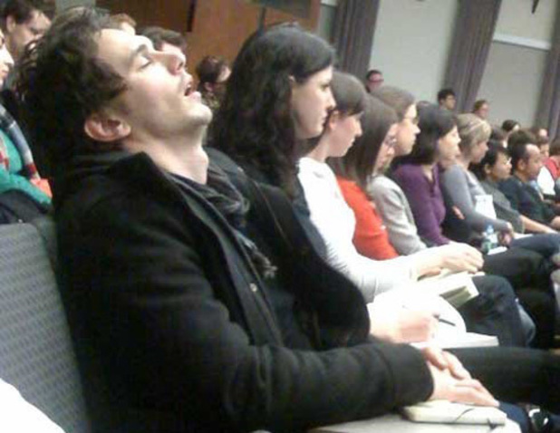James Franco during a lecture at NYU