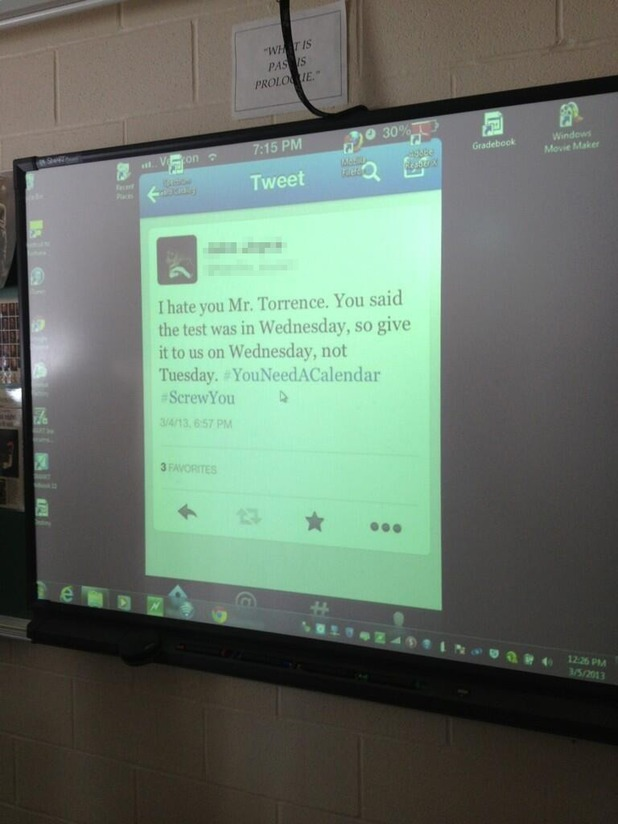 Teacher projects student's tweet