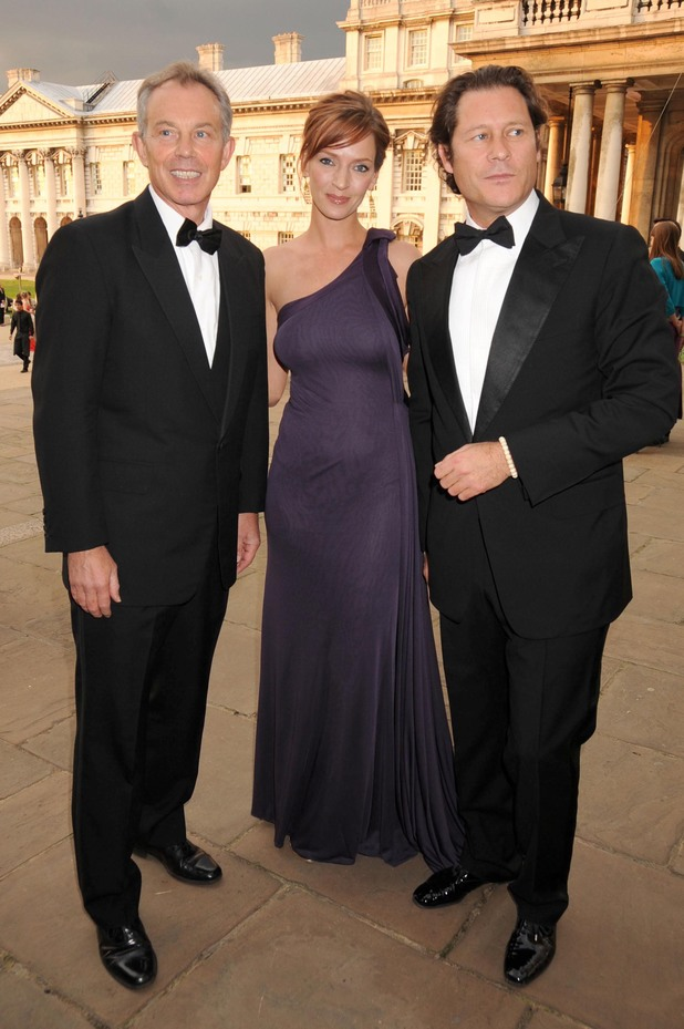 Tony Blair, Arki Busson and Uma Thurman