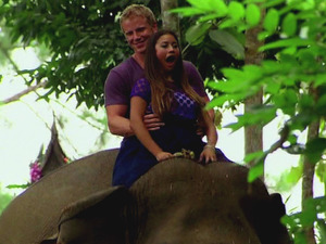 Sean and Catherine ride an elephant during 'The Bachelor' season finale