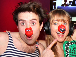 Nick Grimshaw, Sara Cox, Greg James and Dev sporting swimwear during Radio 1's Red Nose Day Challenge with Nick Grimshaw