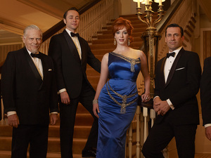 Mad Men Season 6: Bertram Cooper (Robert Morse), Pete Campbell (Vincent Kartheiser), Joan Harris (Christina Hendricks), Don Draper (Jon Hamm) and Roger Sterling (John Slattery)