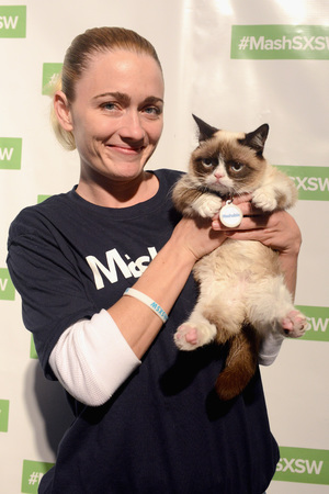 Grumpy Cat with owner Tabatha Bundesen at SXSW