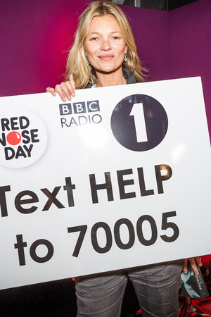 Kate Moss during Radio 1's Red Nose Day Challenge with Nick Grimshaw