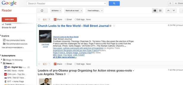 Google Reader screenshot