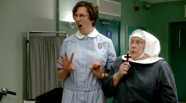 Miranda Hart and Pam Ferris appear in a Comic Relief special of Call the Midwife and One Born Every Minute