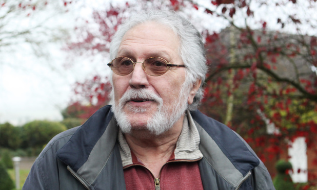 Dave Lee Travis speaks to the media outside his home in Mentmore
