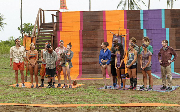 "Survivor: Caramoan - Fans vs Favourites: ""Persona Non Grata. Julia Landauer and the Gota Tribe receive the Immunity Idol from the Bikal Tribe during the fifth episode."