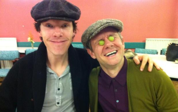 Benedict Cumberbatch and Martin Freeman during Sherlock read-through