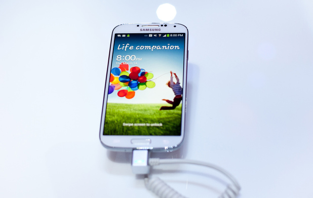 The Samsung Galaxy S4 handset on display in New York